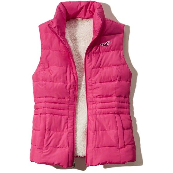 Hollister Sherpa Lined Puffer Vest ($35) ❤ liked on Polyvore featuring outerwear, vests, pink, water resistant vest, pink puffy vest, puffy vests, zipper vest and puffer vest