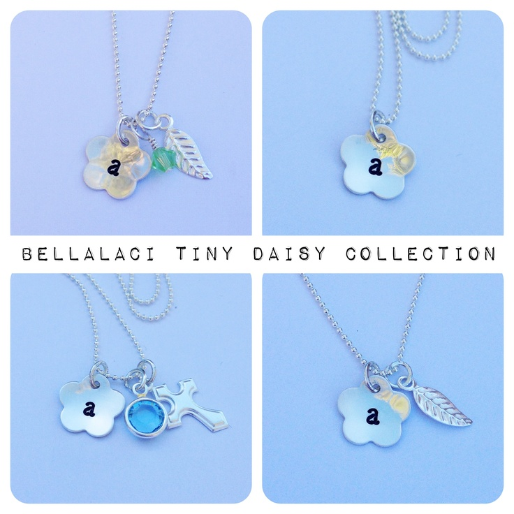 BellaLaci Tiny Daisy Collection. Handstamped Sterling Silver daisy pendants with charms ❤  http://www.facebook.com/bellalaciinspired