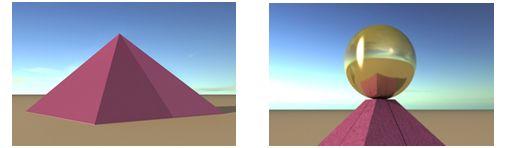La Gran Pirámide reconstruida. El Sol en el crepúsculo el día del equinoccio diferenciaba  las dos caras. La esfera se percibiría como un reflejo, ya que era difícil de distinguir a simple vista porque sólo representaba la 103ª parte de la altura de la pirámide. Primer plano de la esfera de coronación reposando sobre la plataforma. - Miquel Perez Sanchez -