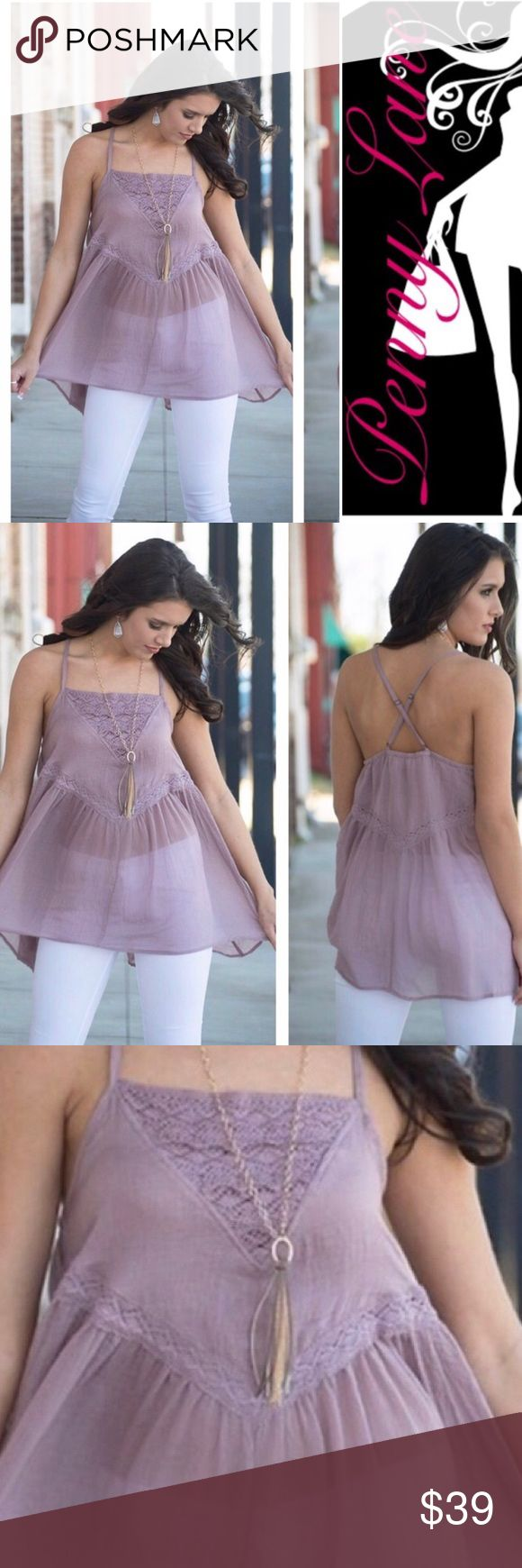 Beautiful lilac boho tank top 🌞 Absolutely beautiful and limited! Only a few available!! Lilac babydoll style tank. Lightweight, perfect for the warmer weather. Absolutely romantic!  65% Cotton 35% Polyester Measurements: Bust: 18' small, 19' medium, 20' large Infinity Raine Tops Tank Tops