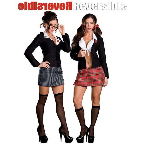 Reversible Teacher & School Girl Costume ($58) ❤ liked on Polyvore featuring costumes, halloween costumes, multicolor, adult costume, sexy costumes, colorful costumes, schoolgirl costume and sexy school girl halloween costume