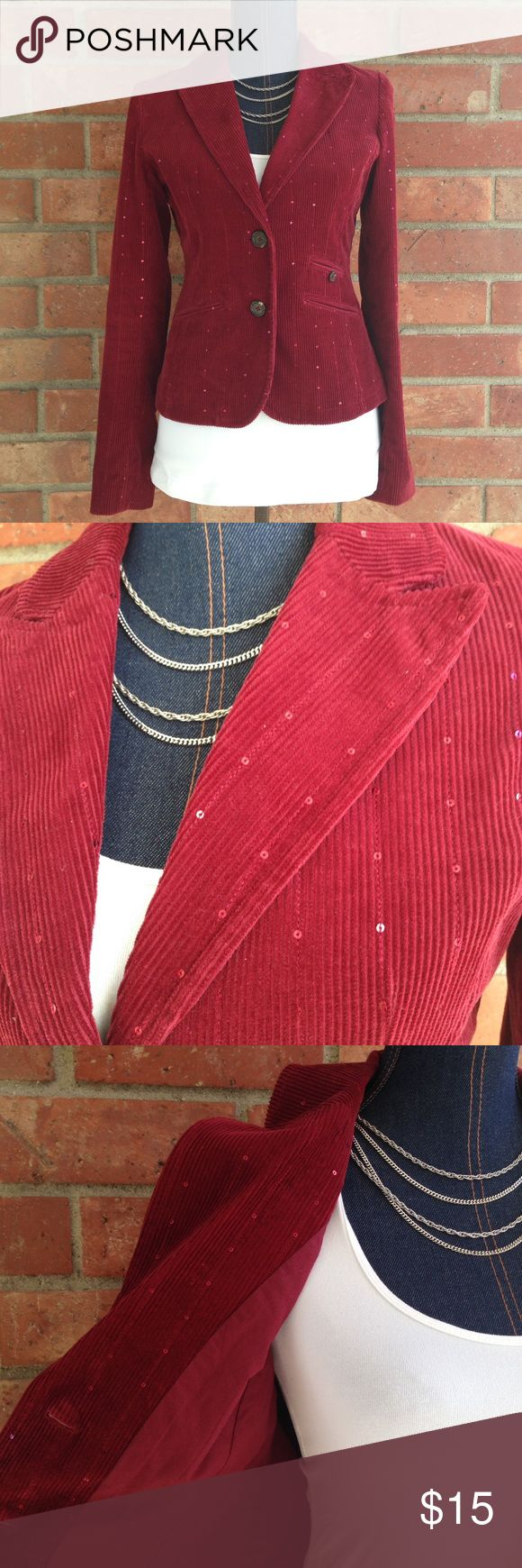 American Eagle Corduroy Sequin Blazer If you're looking for a festive holiday Blazer this may be for you! Color: burgundy red. Size S/P Pair it with some skinny jeans and heels American Eagle Outfitters Jackets & Coats Blazers