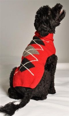 Chilly Dog Red Argyle Dog Sweater