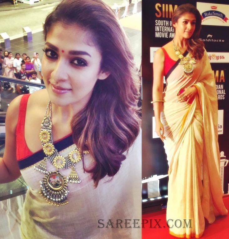 South Indian actress Nayanatarain khadi saree at SIIMA 2016. She was…
