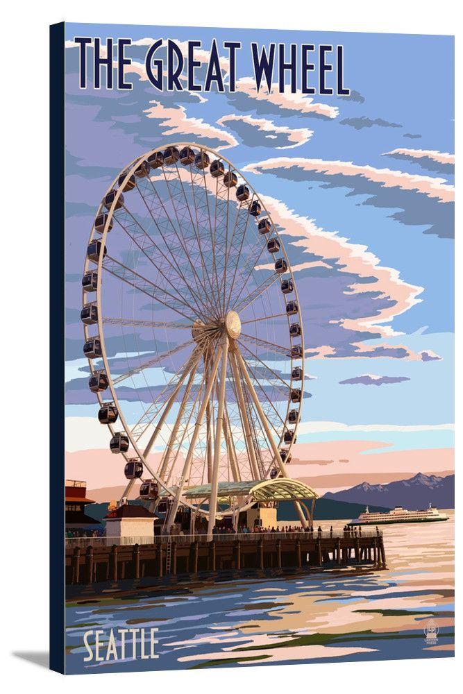 Canvas Seattle Washington The Great Wheel