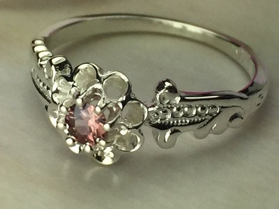 Vintage Style Engagement Ring Marsala Pink by LovebirdJewelers