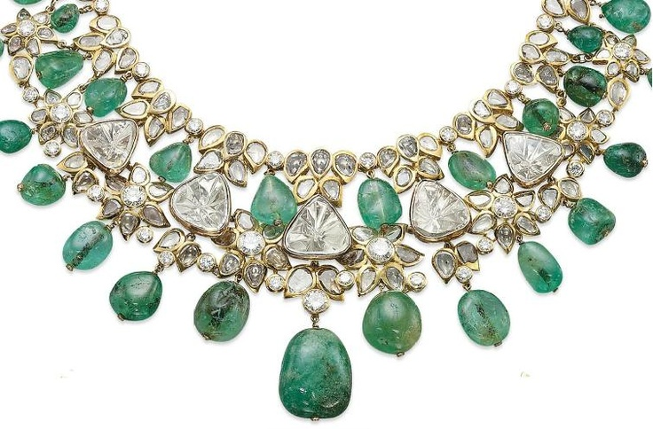 NECKLACE FROM A SET OF EMERALD AND DIAMOND JEWELLERY, BY MOUAWAD. Christie's.