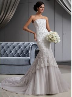 Trumpet/Mermaid Strapless Chapel Train Satin Tulle Wedding Dress With Lace Beading (002022658) - JJsHouse