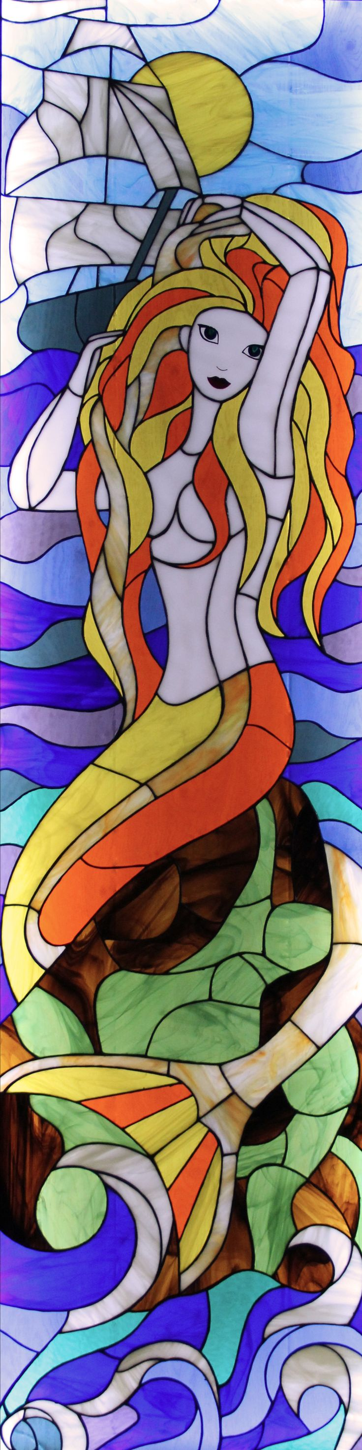 Inspired by the mermaid stained glass in Harry Potter