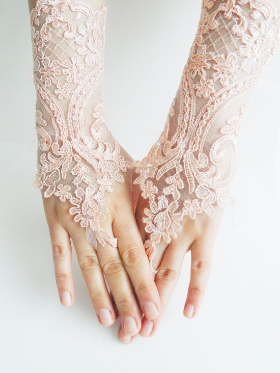 free ship, Lace gloves, Soft peach pink Wedding gloves, bridal gloves, fingerless  gloves, salmon, pink light,  orange gloves