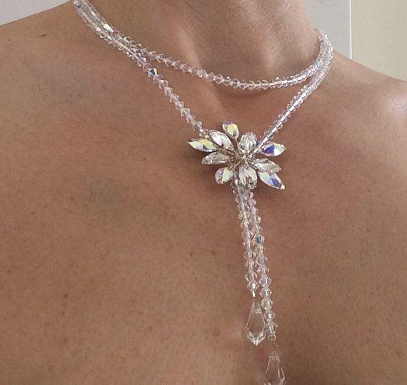 Bridal Necklace Wedding Necklace Swarovski by glamourbysonja