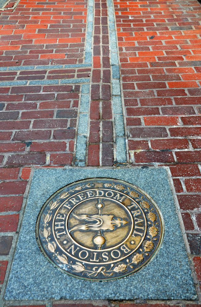 Boston Freedom Trail, a trail of historic sites around Boston. Boston Common, MA state house, Park Street Church, Granary Burying Ground, King's Chapel, Old South Meeting House, Old State House, Boston Massacre site, Faneuil Hall, Paul Revere House, Old North Church, Bunker Hill, USS Constitution