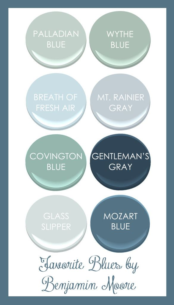 Favorite Benjamin Moore Blues: Palladian Blue, Wythe Blue, Breath of Fresh Air, Mt. Rainer Gray, Convington BLue, Gentleman's Gray, Glass Slipper, Mozart Blue