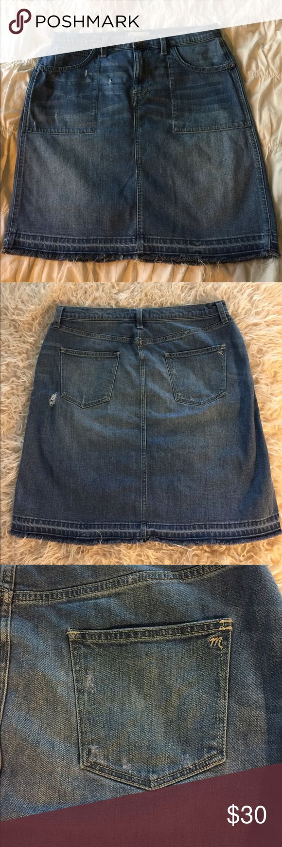 Distressed Maxwell jean skirt Super cute distressed jean skirt with raw edge hem. This would be super cute with tights and a chunky sweater for fall!! Skirts