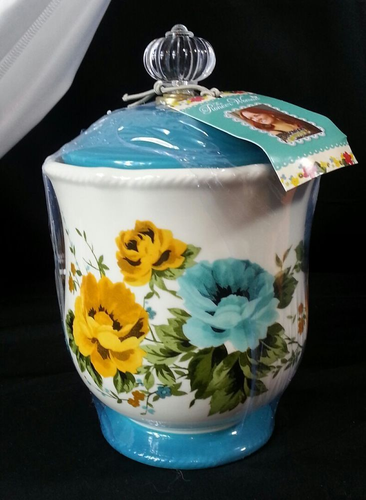 the pioneer woman rose shadow 8 25 inch canister acrylic knob teal rh pinterest com