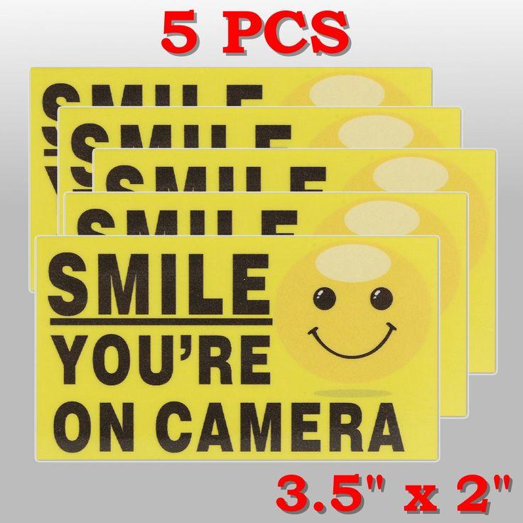 5pcs sonrisa que está en alarma de vídeo auto-adhensive cámara pegatinas de cámaras de seguridad firmar calcomanía