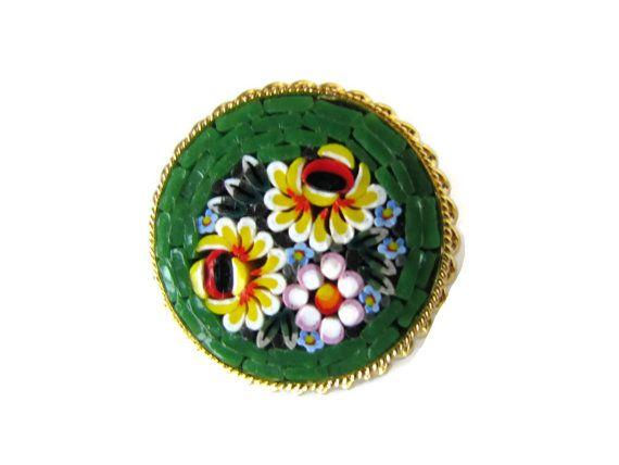 Antico mosaico spilla Pin spilla Micro mosaico di WhyWeLoveThePast