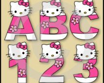 Hello Kitty Alphabet Letters & Numbers Clip Art Graphics