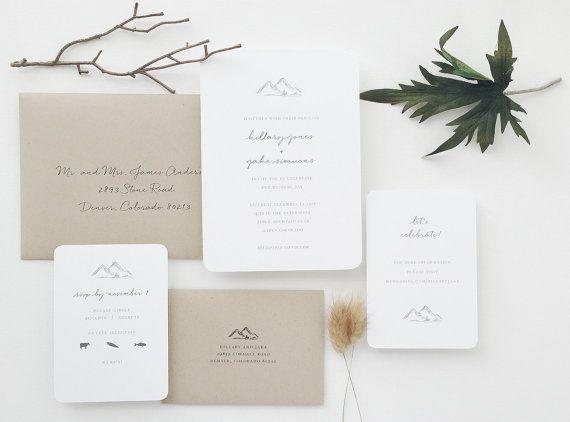 PAPER SAMPLE Mountains Wedding Invitation by augustandwhitedesign
