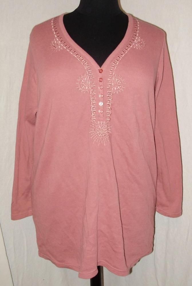 Womens Plus Size Shirt 1x Roamans Pink Mauve Embroidered