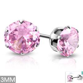OORBELLEN MET STRASS STEENTJESStainless steel oorbellen met roze strass steentjes. De oorbellen zijn zilver van kleur.Stalen dames/kinder oorbellen hebben een afmeting van 3 mmEIGENSCHAPPEN STALEN OORBELLEN:Sieraden worden steeds vaker gemaakt van edelstaal, vanwege de voordelen ten opzichte van andere metalen.