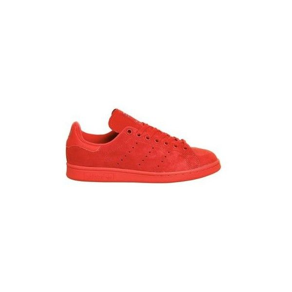 TopShop Adidas Stan Smith Trainers (1,945 MXN) ❤ liked on Polyvore featuring shoes, sneakers, red, leather sneakers, leather footwear, topshop sneakers, real leather shoes and genuine leather shoes