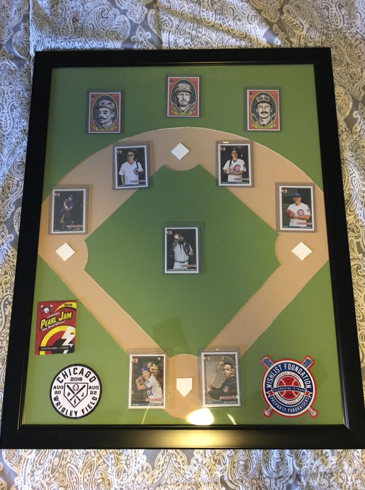 Some picture mat and a frame made into an expensive looking baseball card display case