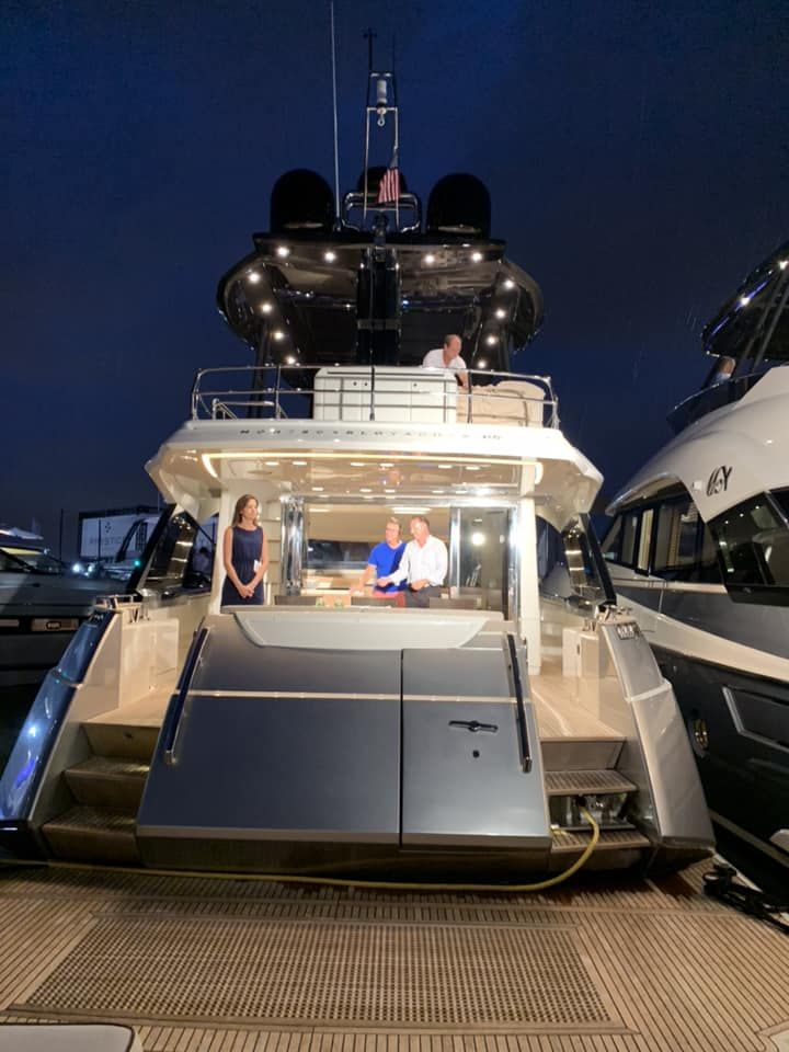 cocktail party aboard the popular monte carlo yachts 80 at fort rh pinterest com
