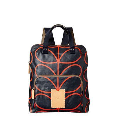 Orla Kiely | UK | Bags | AW14 Etc | Giant Linear Stem Print Backpack (14AELIN138) | Navy