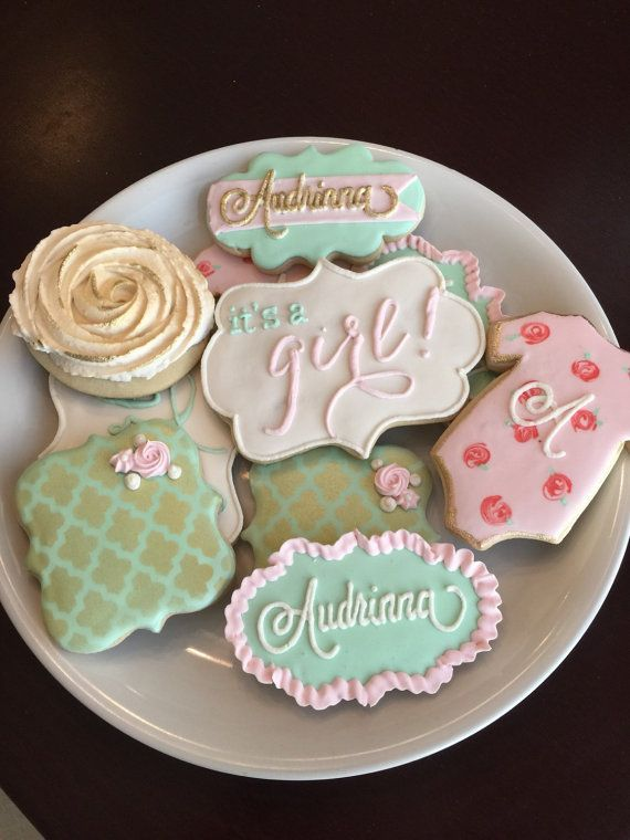 Shabby Chic Baby Shower Cookies / One Dozen by ShopCookieCouture