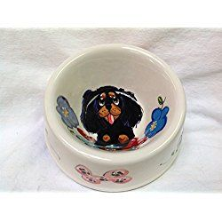"King Charles Cavalier 6"" Dog Bowl for Food or Water. Personalized at no Charge. Signed by Artist, Debby Carman."
