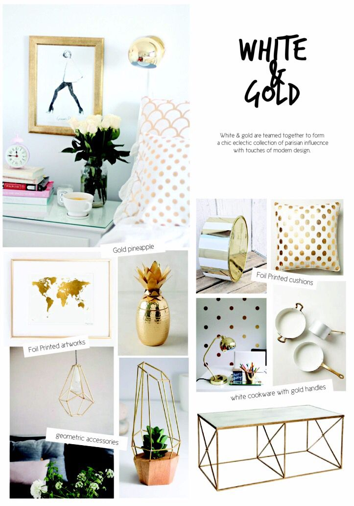 SS15 interior design. Homewares White & Gold