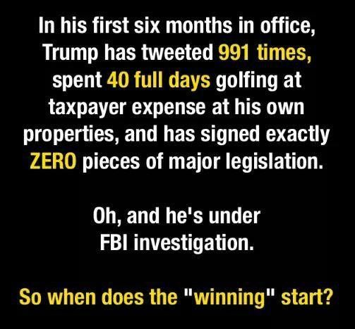 "But he's the strict parent we need?!??!? Hahaha. That's why he ignores his so that he's so ""worried about"" on his golfing trips..."