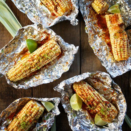 Roasted Corn with Harissa Butter.