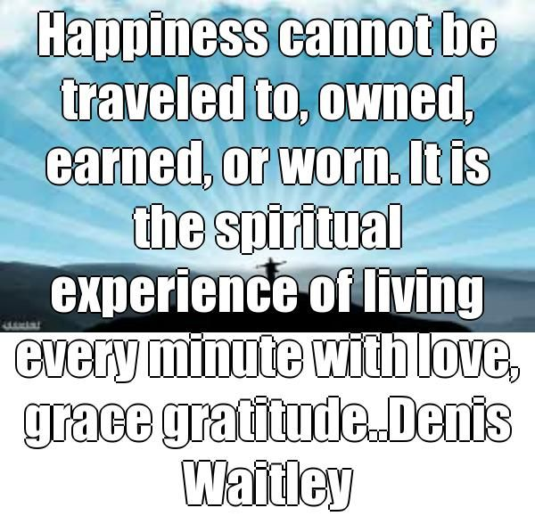 Happiness cannot be traveled to, owned, earned, or worn. It is the spiritual experience of living every minute with love, grace gratitude..Denis Waitley  (courtesy of @Pinstamatic http://pinstamatic.com)