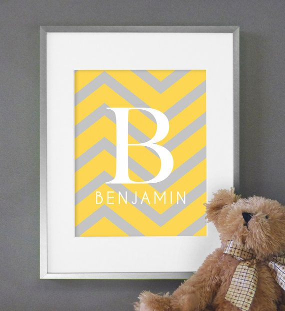 Chevron Baby Nursery Art Monogram Print 8x10 Nursery or Kids Room Wall Decor - Shown in Yellow & Gray. $16.00, via Etsy.