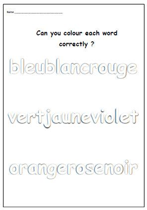 FRENCH COLOUR WORKSHEETColouring Words by YippeeLearning on Etsy