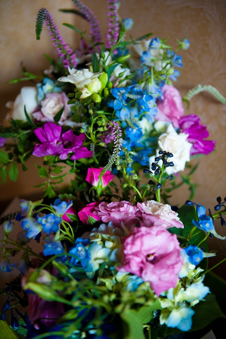Blue White Purple And Pink Flowers Wedding Bouquets
