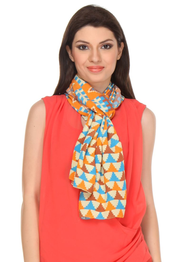 Bhumi Chitra Art Scarf This digital printed crepe silk scarf gets its design inspiration from Bhumi Chitra, a traditional technique or floor painting common across various parts of rural India.