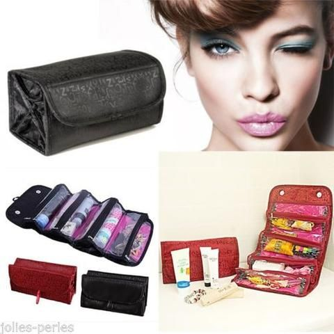 JP Cosmetic Organiser Makeup Bag Toiletries Pockets Compartment Travel Roll N Go