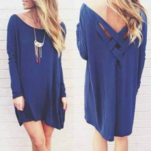 Stylish Scoop Neck Long Sleeve Solid Color Loose-Fitting Dress For Women