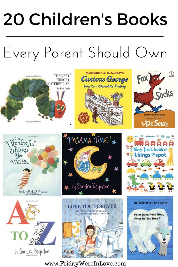 20 books every parent should have in their library- perfect for new moms/new parents, and a great list for baby shower gifts!  These are books babies enjoy that grow with them into childhood and help with different learning and development skills. There a