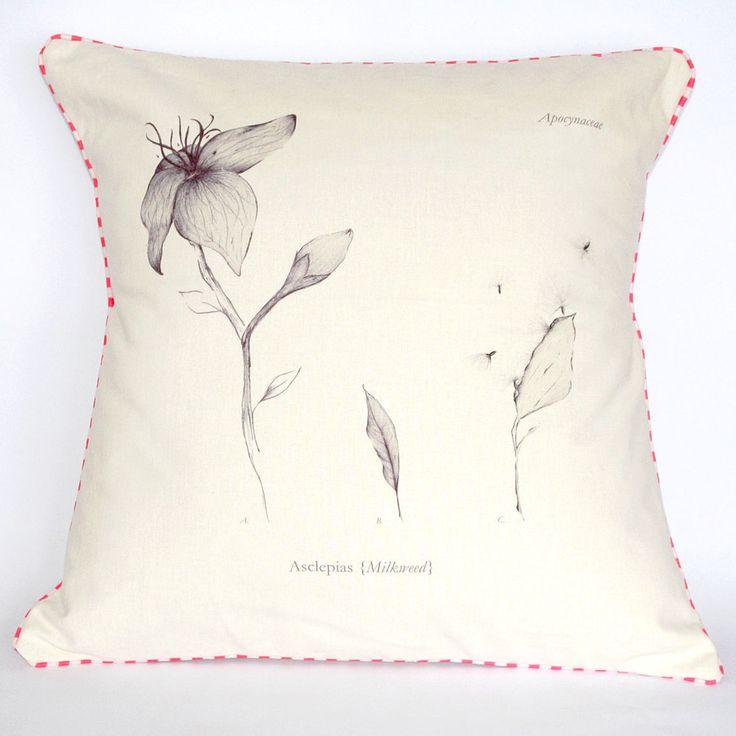 Beautifully illustrated Milkweed Botanical Cushion. Spring/Summer collection 2014.