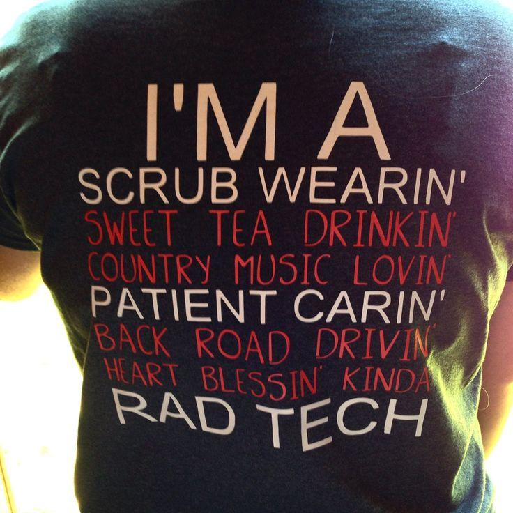 Scrub wearing patient caring Rad Tech shirt - pinned by pin4etsy.com