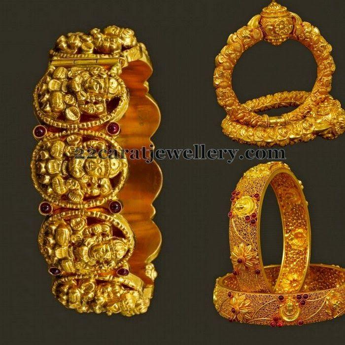 Jewellery Designs: Floral Lakshmi Gold Bangles