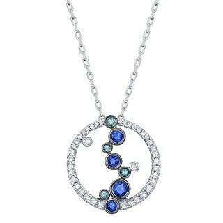 Prism Jewel 0.39Ct Blue Sapphire with Blue Color Diamond with G-H/SI1 Diamond Necklace