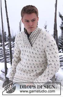 """DROPS herresweater i """"Nepal"""" med mønster og sjalskrave. Str S - XXXL ~ DROPS Design"""