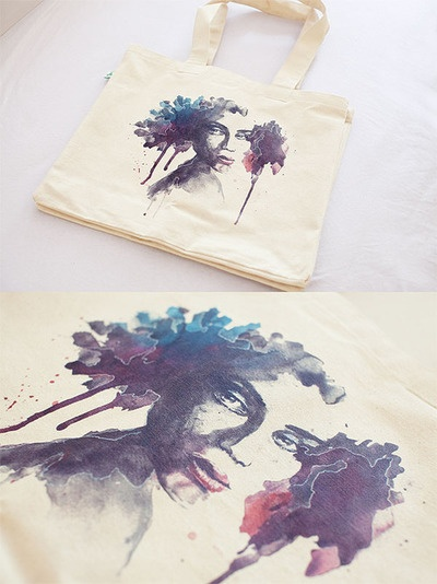 Printed bag for a friend's birthday with one of my watercolour pictures (Rooney Mara).