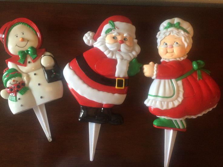 1980s Christmas Garden Plant Stakes Santa Mrs. Claus Snowman by LottieDottieVintage on Etsy