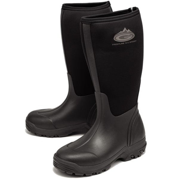 Grubs Frostline Sport 8.5 Wellington Boots in Black feature a Super-Dri lining keeping your feet dry and warm.
